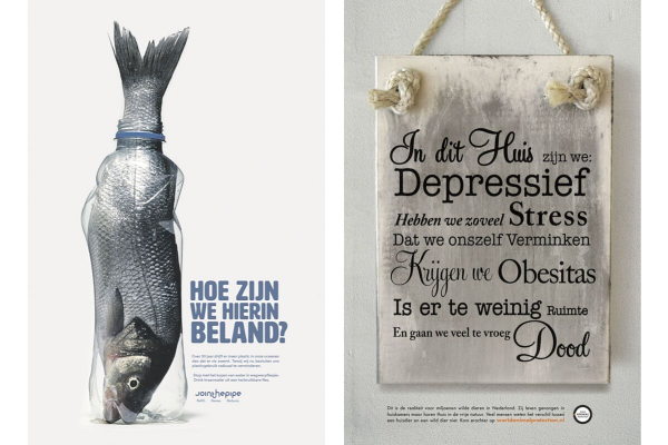 De winnende advertenties: JoinThePipe (links) en World Animal Protection (rechts)