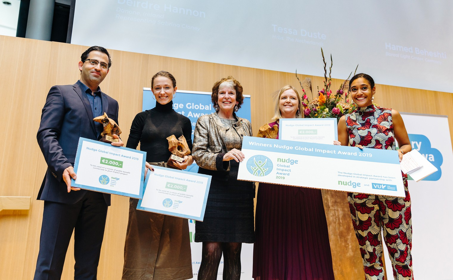 Winnaars van de 2019 Nudge Global Impact Challenge.