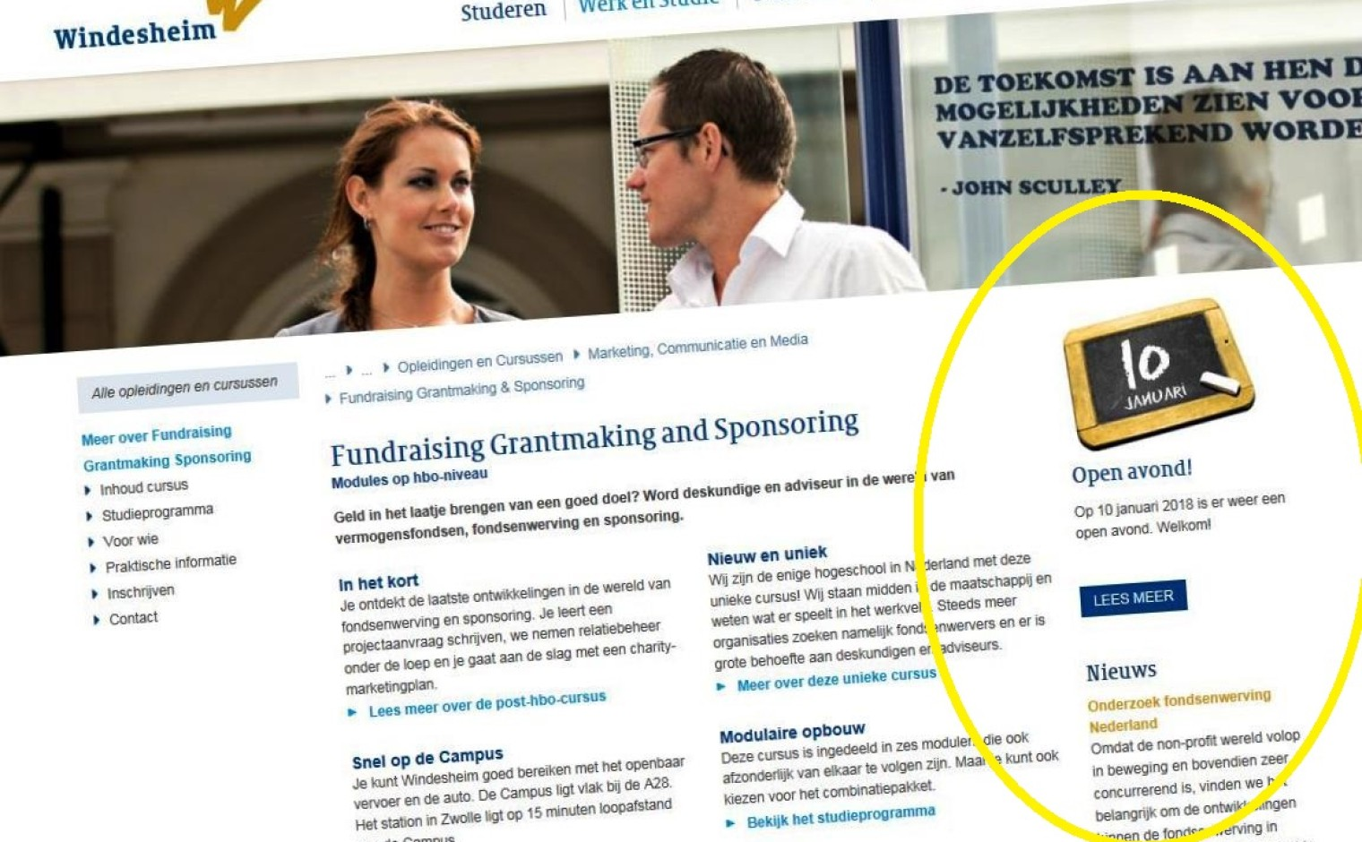 Website Hogeschool Windesheim